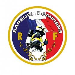 Autocollant Sapeurs Pompiers Drapeau MF - Rond